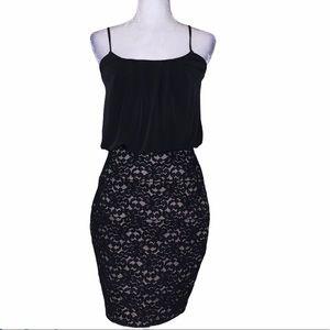 Black mini lace spaghetti strap cocktail dress
